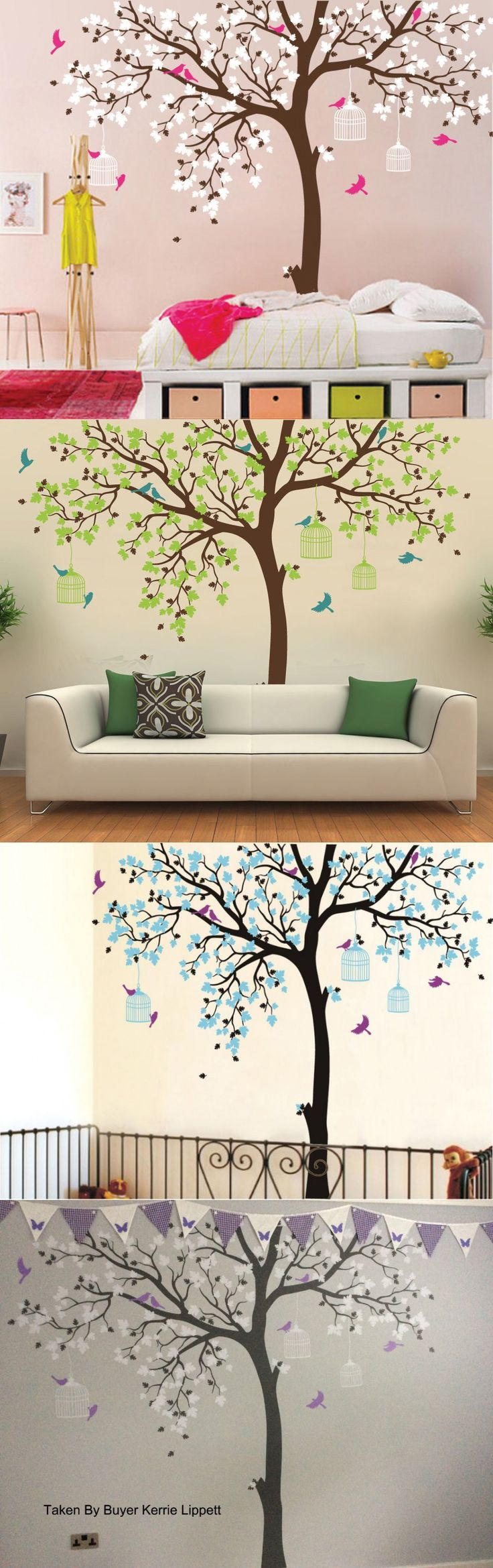Bird Cage Tree Nursery Wall Stickers Removable Vinyl Decal Kids Baby Decor Art TV Background Wall Decals Kids Bedroom Wallpaper