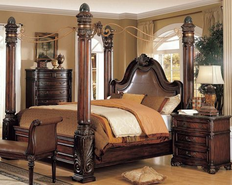 wonderful thomasville bedroom furniture bed frame with poles and brown painted bedroom wall have wood floor
