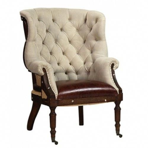 linen tufted wing chair dark wood exposed frame wingchair rocking rh pinterest com