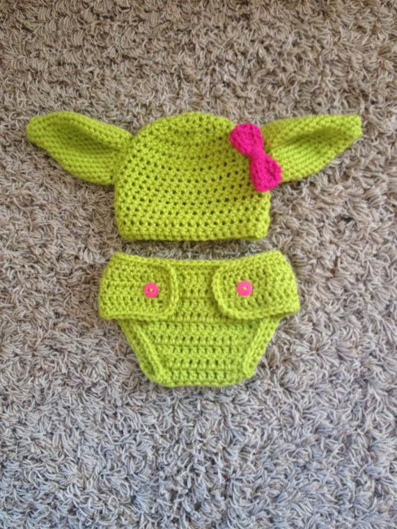 Crochet Infant Yoda Photo Prop Set Star Wars Baby by Studio7Gifts
