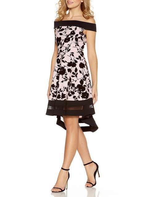 9d48ca8c63e2d  Quiz Pink And Black Floral Print Bardot Dress - Dresses - Clothing -  Dorothy Perkins