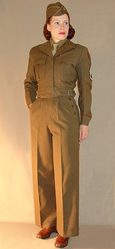 http://www.blitzkriegbaby.de/waac/waac4ac.htm WAC ETO Uniform with Field Jacket and Trousers, Garrison Cap, in style of 1944