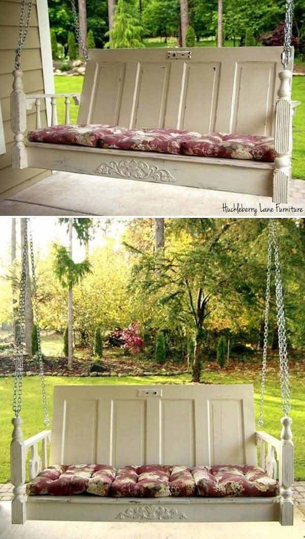Swing made from old doors. An old door might seem like it should be scrapped, but with some great redo ideas, they will get a new life and become an awesome home decor project.