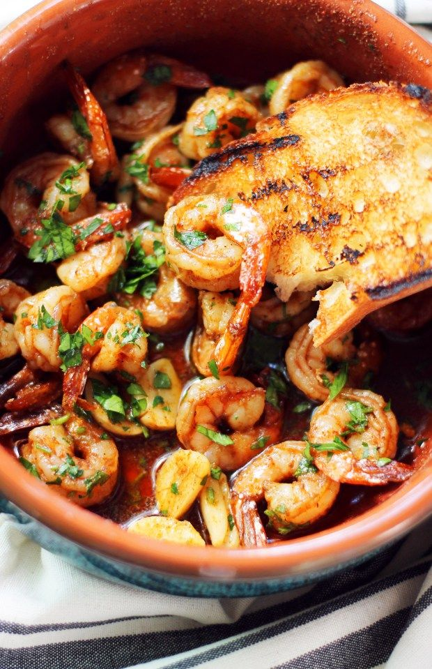 EASY Spanish Shrimp Tapas recipe  So much Spanish flavor packed into one little dish