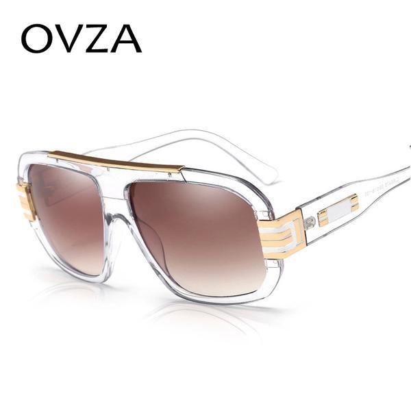 FuzWeb:Ovza Big frame Men Sunglasses Rectangle Women Sunglasses High quality Transparent Male Glasses S9032