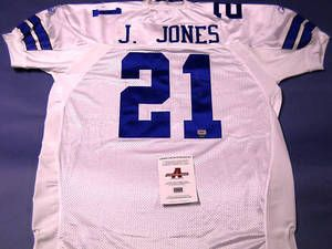 "$165 Autographed Julius Jones Authentic Reebok Dallas Cowboys Jersey. Julius added his number ""21"" to the jersey. This jersey is the real deal, what you see on the field! All Letters and Numbers are stitched on this size 56 jersey, now it's ready to be displayed in your sports room! It comes with Dual Authentication: GTSM Julius Jones hologram Sticker and AAA Authentication and a matching hologram COA. Great investment for any true Dallas Cowboys or Notre Dame fans!"