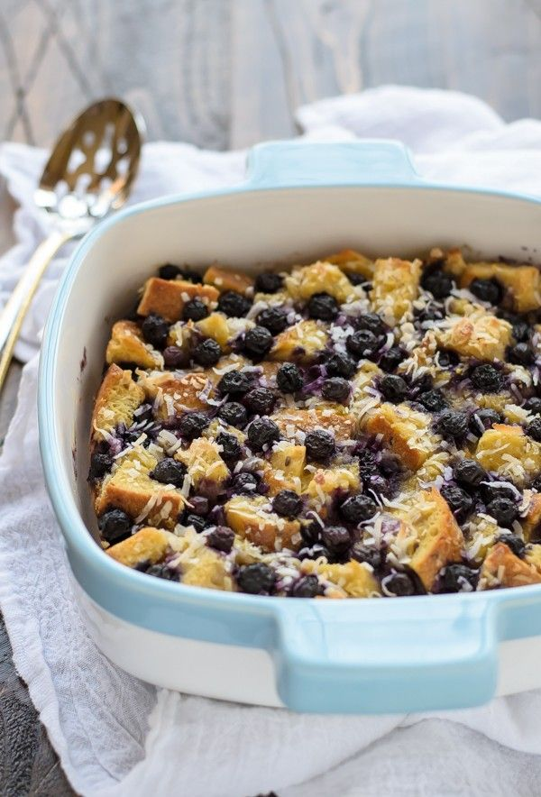 Overnight Blueberry Coconut French Toast Bake. Perfect for Mother's Day brunch or breakfast in bed!