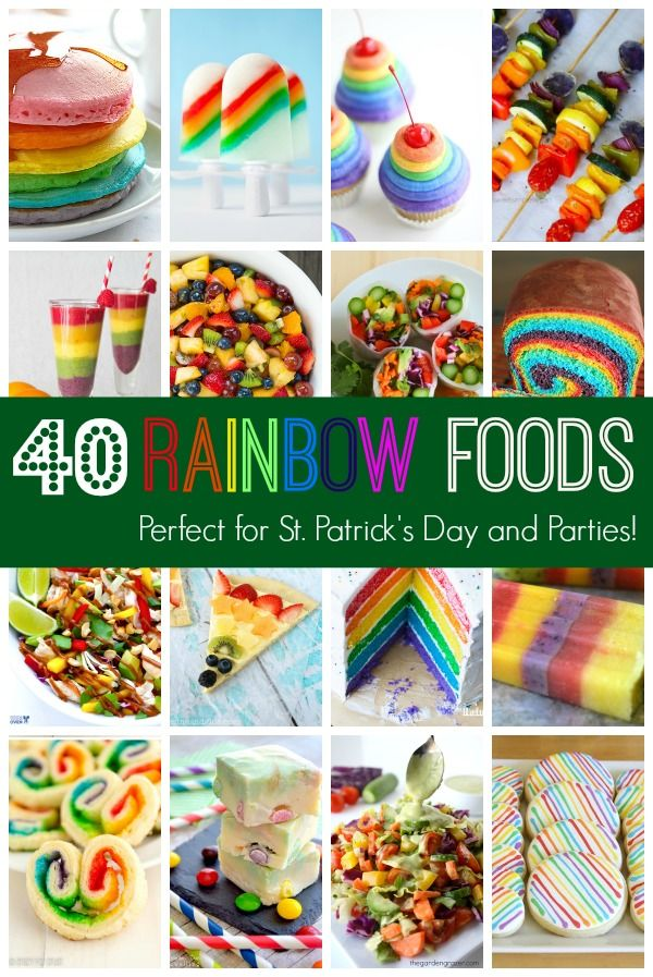 Mmmm.....taste the rainbow! 40 delicious recipes for sweet AND savory foods made with the colors of the rainbow. Perfect for St. Patrick's Day
