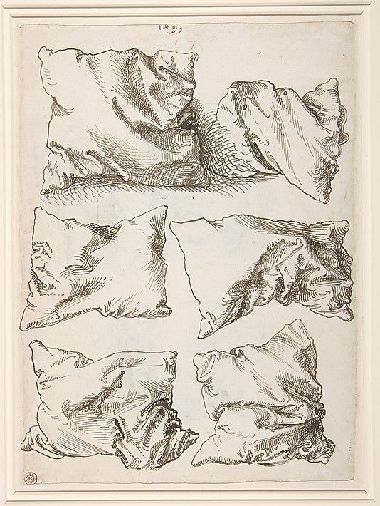 Self-portrait, Study of a Hand and a Pillow (recto); Six Pillows (verso)  Albrecht Dürer (German, Nuremberg 1471–1528 Nuremberg)  Date: 1493 Medium: Pen and brown ink Dimensions: 10 15/16 x 7 15/16 in. (27.8 x 20.2 cm) Classification: Drawings Credit Line: Robert Lehman Collection, 1975 Accession Number:1975.1.862