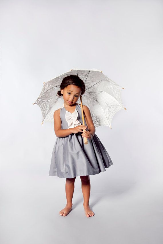 Grey Occasion Flower Girl Dress With Blush by VesperClothier, $95.00