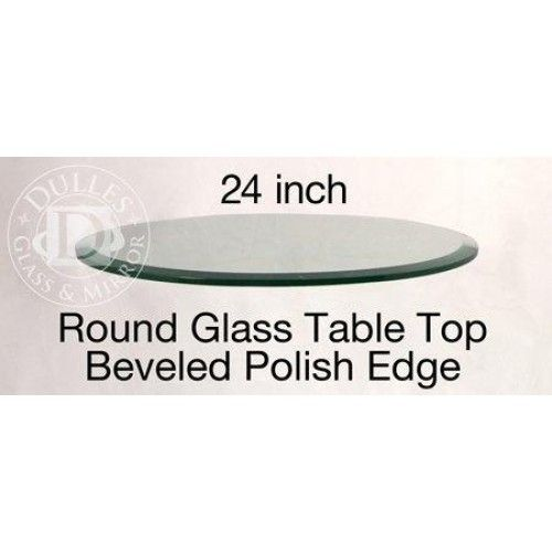 24 Round Glass Table Top, 3/8 Thick, Beveled Edge, Tempered Glass