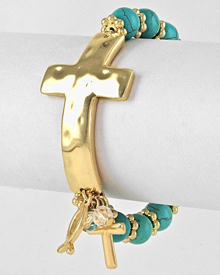 Gold Cross bracelet with Turquoise beads