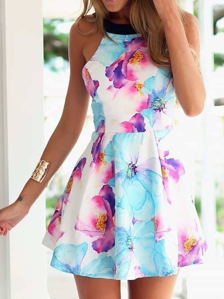 Multicolor, Floral Pattern, Backless, Cut Away, Skater Dress