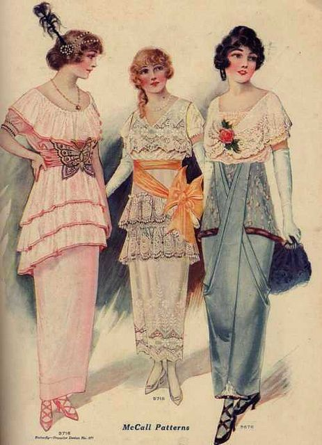 ๑ Nineteen Fourteen ๑ historical happenings, fashion, art & style from a century ago - Evening dresses, 1914.