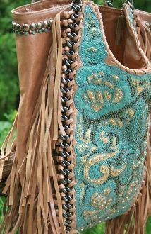 Kippys Turquoise Fringe Purse w/ Chain Handles
