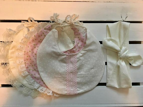 Vintage Floral Bib & Headwrap Set