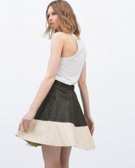 Falda bicolor combinada Zara