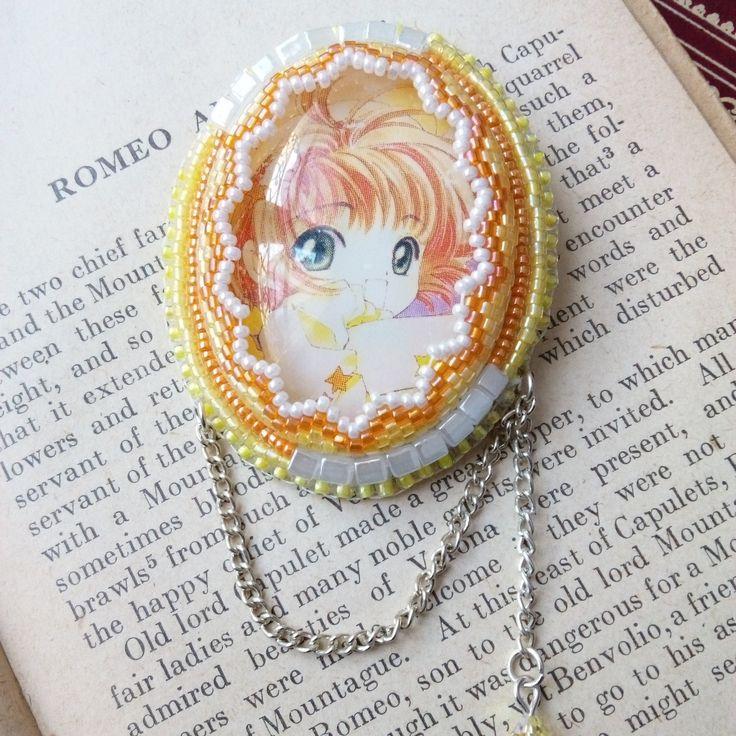 "Broche Perles Brodées Manga Fille Kawaii Shojo ""Lady Sakura"" : Broche par littlekatsu"