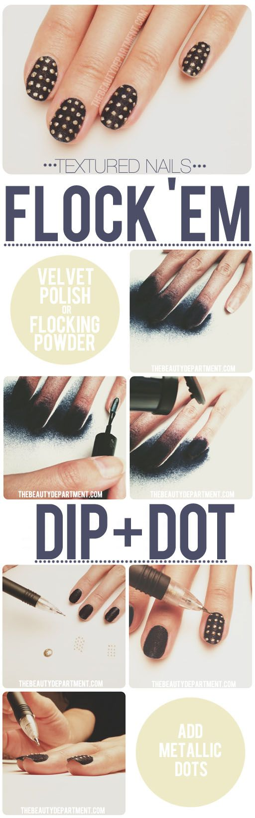 Pinned by www.SimpleNailArtTips.com SIMPLE NAIL ART DESIGN IDEAS - Tutorial  TBD flocked nails metallic dots #nail art #manicure