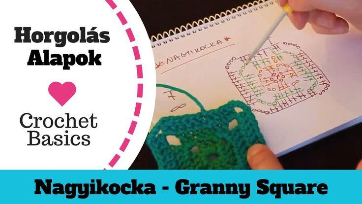 1.7 Nagyikocka - Horgolás Alapok - crochet granny square - Crochet Basics