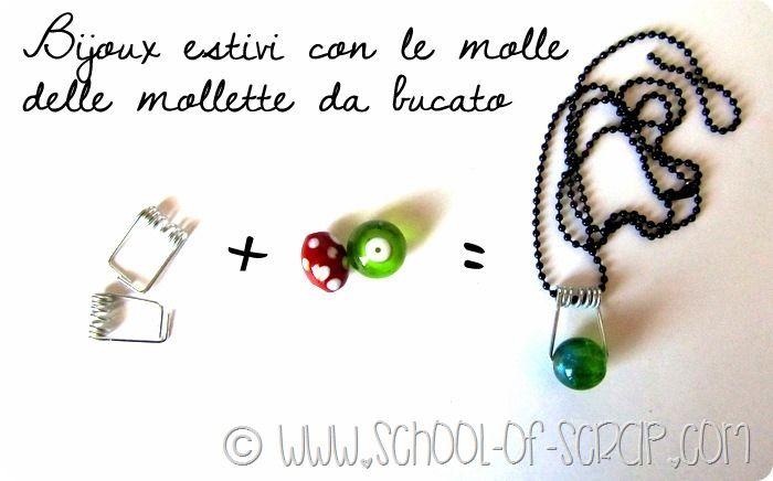 - Bijoux hand made: necklaces made of clothespins with springs - Bijoux fai da te: ciondoli fatti con le molle delle mollette da bucato