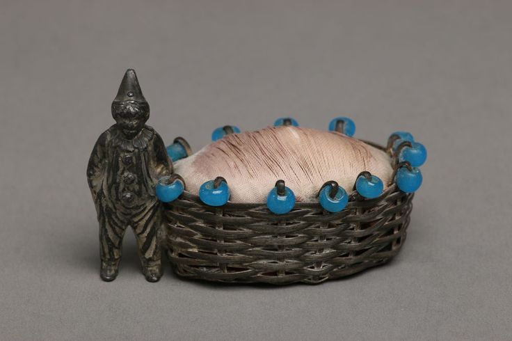 Vintage Metal Clown w/ Woven Basket Pinchushion, Beaded Edge