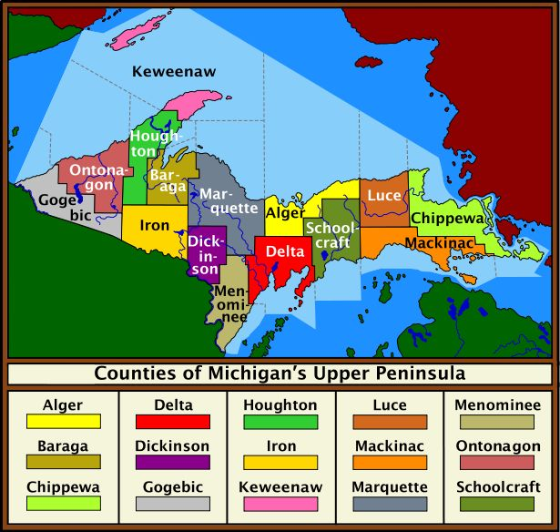 *Upper Peninsula counties*...*Isn't it amazing that Isle Royal National Park (pink island on map) is closer to Canada, but really is part of Keweenaw County, Michigan?