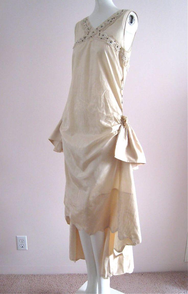 Gorgeous 1920s water silk cream wedding dress roses for Vintage rose wedding dress