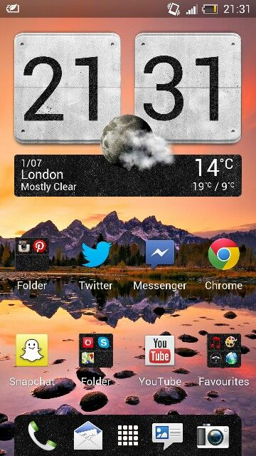 Home screen on my HTC One X-my social media interface chocked full of useful apps