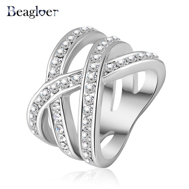 Beagloer Double Cross Ring Trendy Ring Silver Plated WA Elements Austrian Crystal Women Rings Fashion Jewelry Ri-HQ0120-b