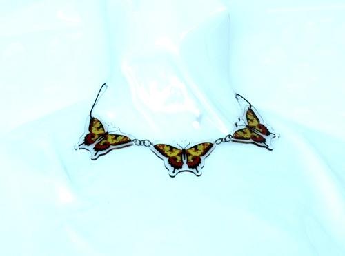 collana 3 elementi farfalla gialla e rossa