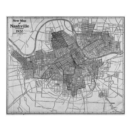 Vintage Map of Nashville Tennessee (1920) BW Poster - vintage gifts retro ideas cyo