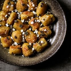 Pumpkin gnocchi, pan-fried in sage brown butter and topped with ...