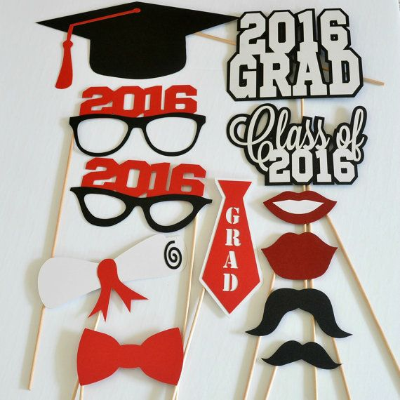 Graduation Photo Booth Props - Set of 12 - Photobooth Props - Class of 2016 - 2016 Graduation - Graduation Party - Graduation Centerpieces