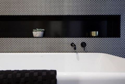 Our Geometrie Dama 02 tiles behind the bath in @allenjackcottier_architects + @theburcham display suit  #architect #bathroom #tiles #sydneydesign