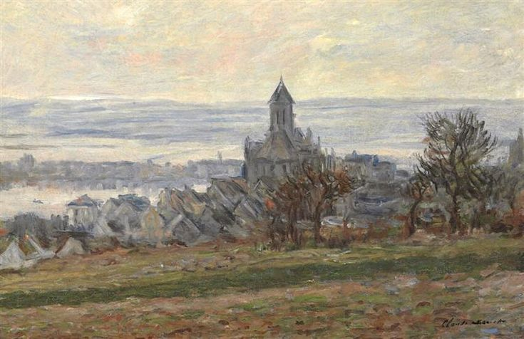 """The Church of Vetheuil"" ・ by Claude Monet ・ Completion Date: 1881 ・ Style: Impressionism ・ Genre: landscape"