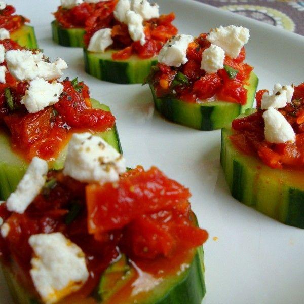 Sun-Dried Tomato and Feta Cucumber Wheels
