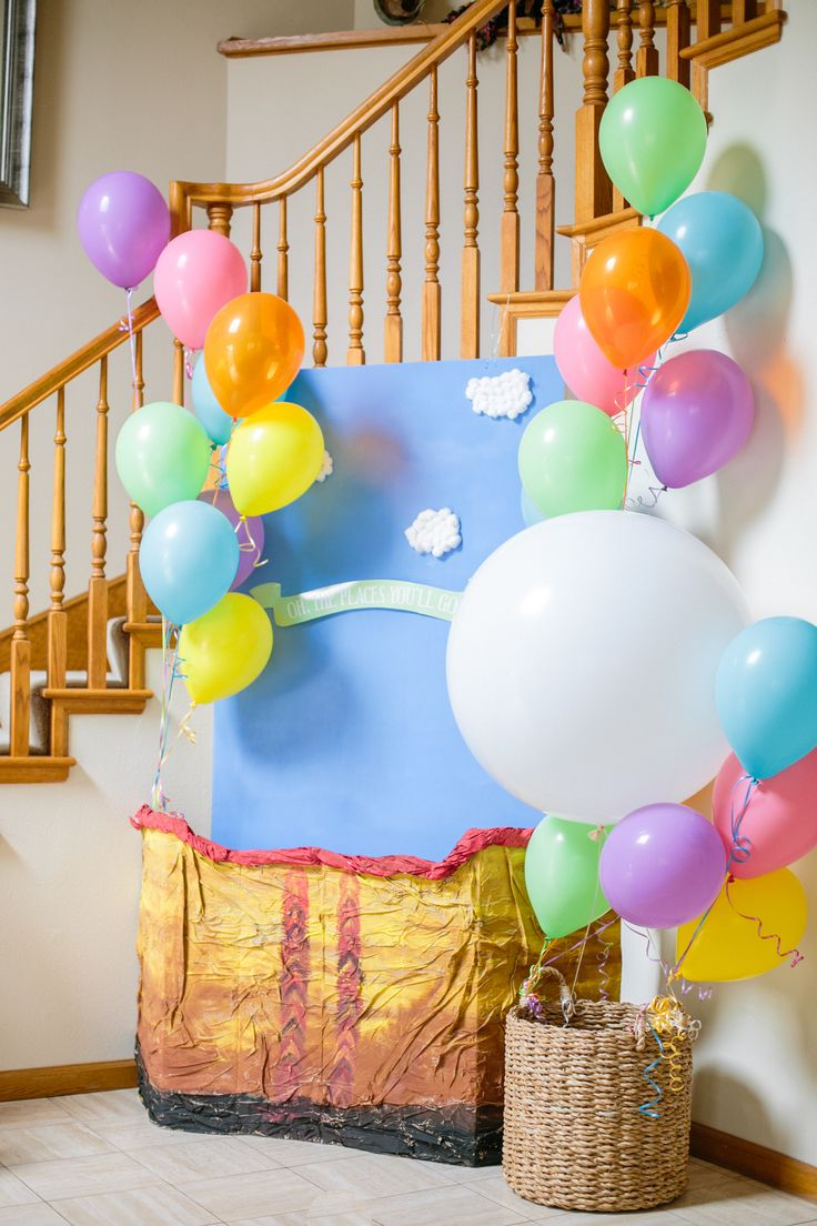 Oh the Places You'll Go Photo Booth Area Hot Air Balloon First Birthday Dr. Seuss