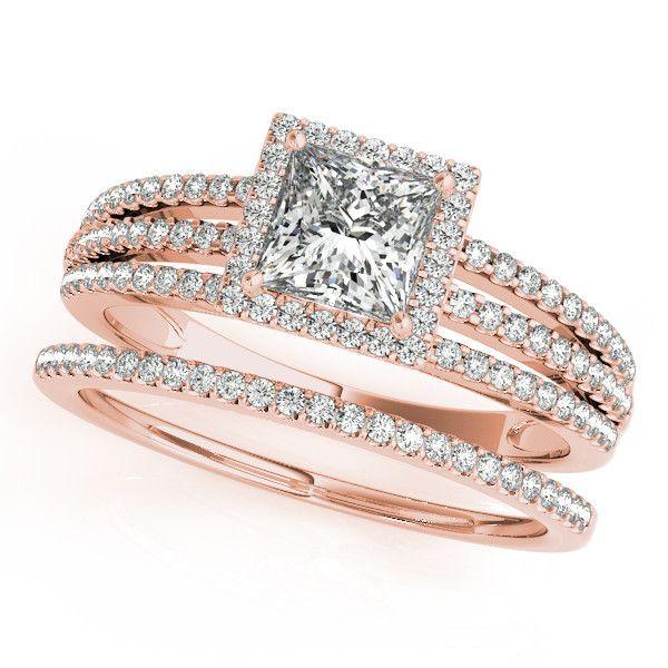 Princess Cut Wedding Set Diamond Halo Engagement Ring and Wedding Band - Rain