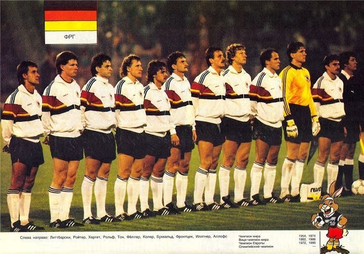 West Germany team line up in 1987.