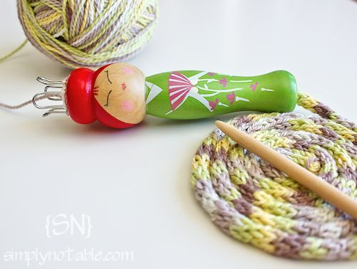 These little French Knitting Dolls make the cutest placemats and rugs.  Great activity for kids during the summer.