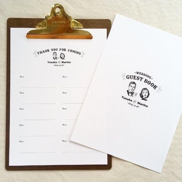 ⚠️写真のクリップボードや紐は付属しません ⚠️バリエーションから氏名用または氏名&住所かお選び頂けます 新郎新婦様のお名前と挙式日をお入れした芳名帳10枚+表紙1枚のセットになります。芳名帳1枚に10名様分書き入れることが可能です。 ☑️仕様 ①サイズ A4 →1枚に10名様分ご記載が出来ます ②用紙 表面がザラっとしていて、優しい風合いのある白色の高級紙 →結婚証明書にも使用のとても雰囲気のある用紙です★ ③発送 お支払い後、発送まで最大7日間かかる場合がございます。発送方法は普通郵便orゆうパケット。 ※お急ぎの方は別途料金にてお急ぎ対応致しますので、お問い合わせフォームよりご連絡ください。 ④梱包 厚紙+OPP+封筒 ☑️文字入れ ご注文時の備考欄に下記の情報をご記載ください。 ❶新郎新婦様のお名前(平仮名とローマ字) ❷日付(⚫︎年⚫︎月⚫︎日) ☑️10枚以上ご必要な場合は別ページの 芳名帳(追加用)をご購入ください。 追加1枚+200円