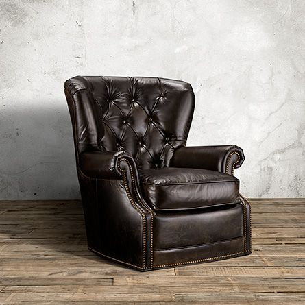 "ARHAUS: Swivel Recliner Rowan Collection Imperial Regal brown leather 34.5""W X 38""D X 38.5""H $2,049 sale"
