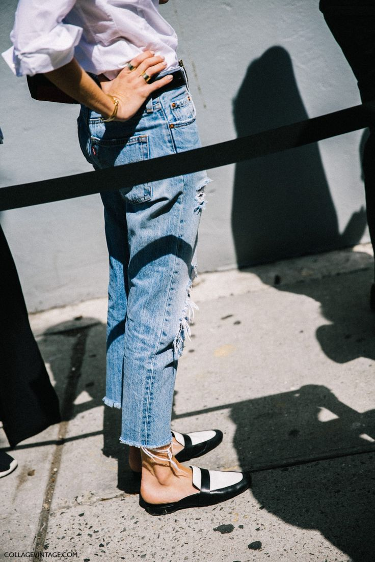 Boyfriend distressed straight jeans and loafers