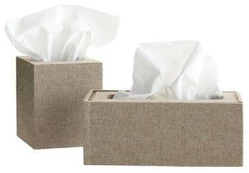 Chambray Tissue Box, Rectangle contemporary bath and spa accessories