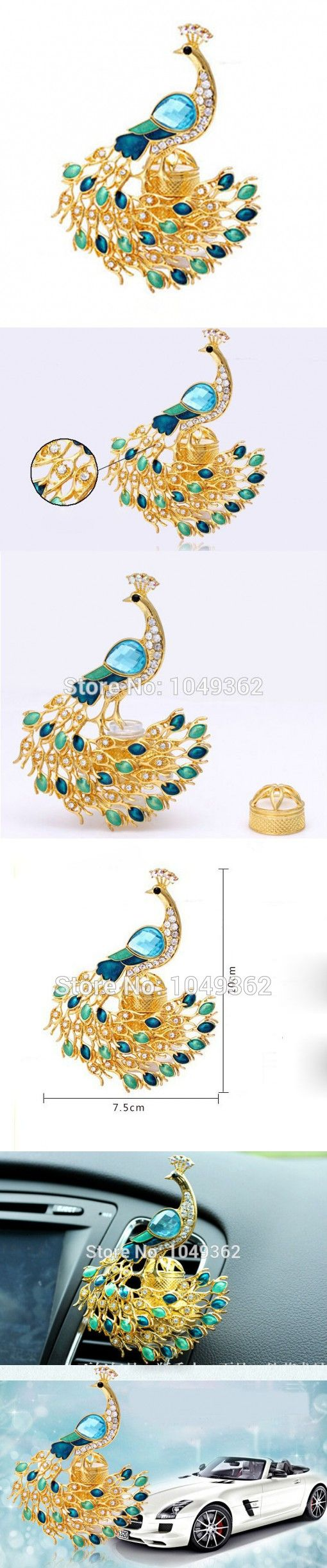 Gold car perfume air freshener elegant fragrance peacock for auto decor home decorations car vent outlet perfume