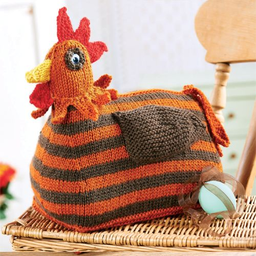 Knitting Patterns Toy Chicken : KNITTED CHICKEN DOORSTOP: Give this stripy hen doorstop by Susie Johns a try,...