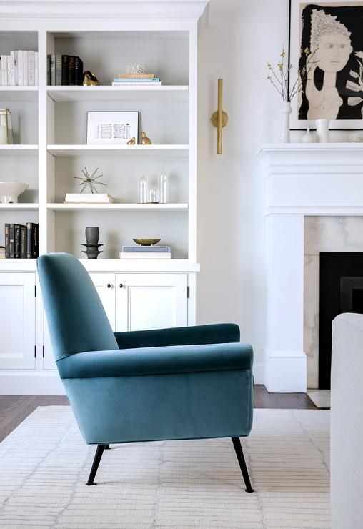 sapphire blue velvet chairs in a transitional living room design rh pinterest ca
