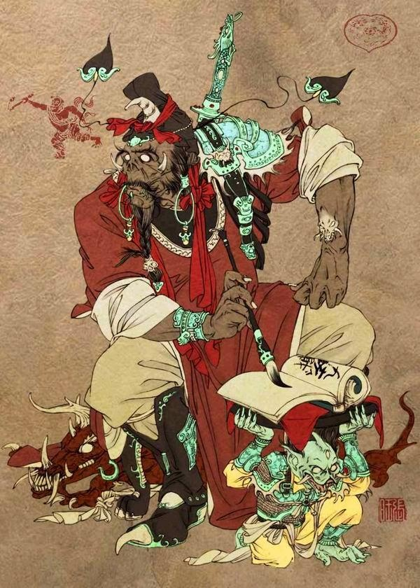 Another piece by Zhang Wang. This is Pan Guan, the judge of the underworld in Chinese mythology.