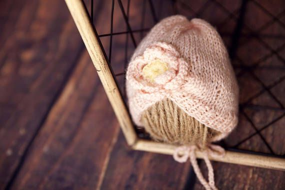 newborn baby girl crochet pink bonnet newborn knit